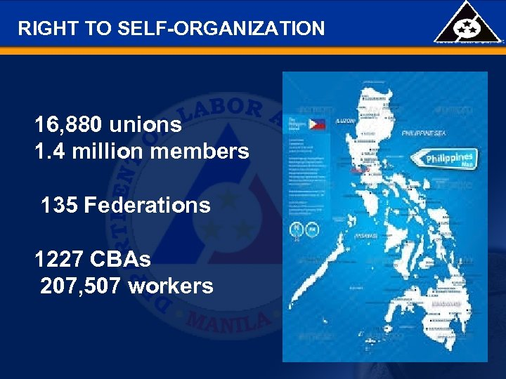 RIGHT TO SELF-ORGANIZATION 16, 880 unions 1. 4 million members 135 Federations 1227 CBAs