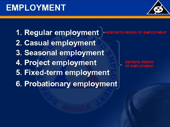EMPLOYMENT 1. Regular employment INDEFINITE PERIOD OF EMPLOYMENT 2. Casual employment 3. Seasonal employment