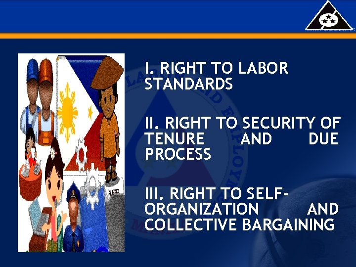 I. RIGHT TO LABOR STANDARDS II. RIGHT TO SECURITY OF TENURE AND DUE PROCESS