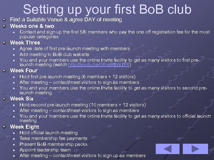 Setting up your first Bo. B club Find a Suitable Venue & agree DAY