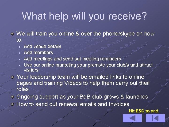 What help will you receive? We will train you online & over the phone/skype