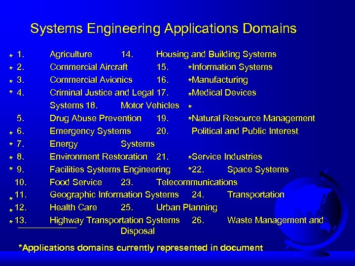 Systems Engineering Applications Domains * * 1. 2. 3. 4. 5. * 6. *