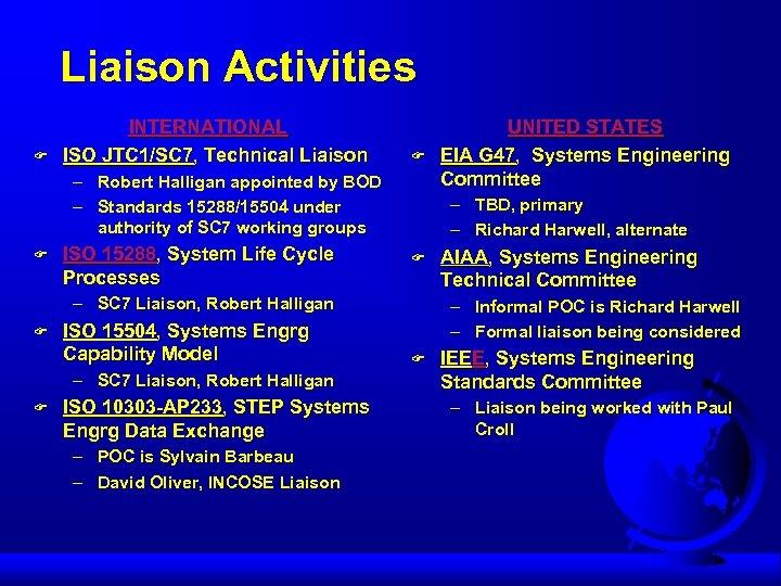 Liaison Activities F INTERNATIONAL ISO JTC 1/SC 7, Technical Liaison F – Robert Halligan