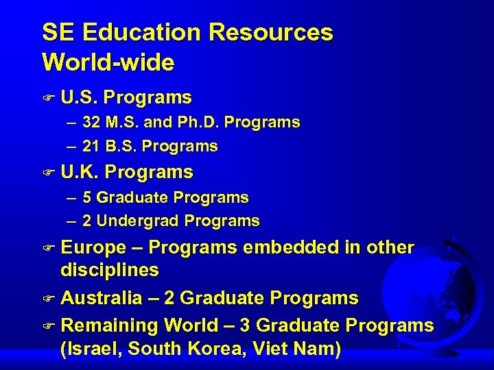 SE Education Resources World-wide F U. S. Programs – 32 M. S. and Ph.