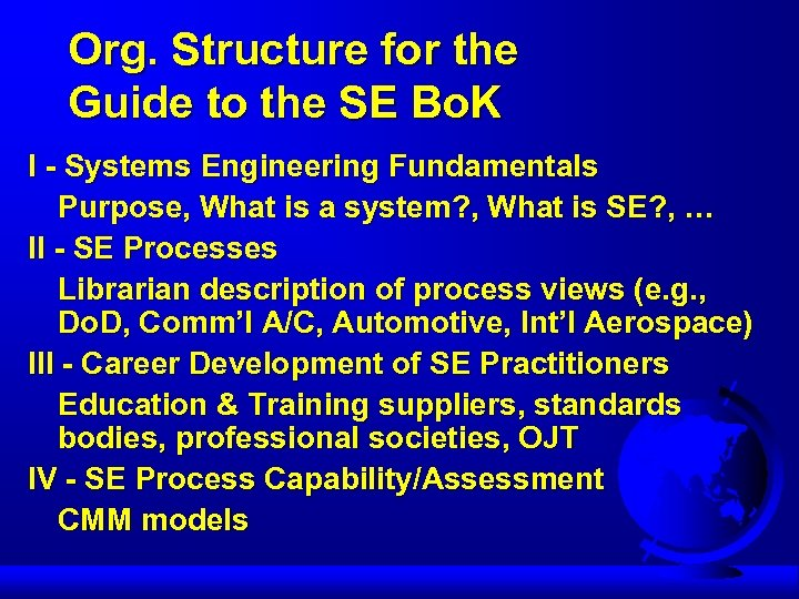 Org. Structure for the Guide to the SE Bo. K I - Systems Engineering