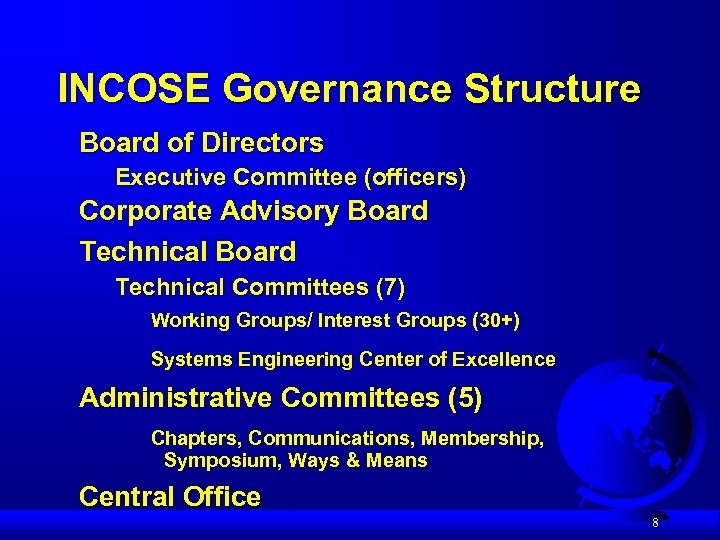 INCOSE Governance Structure Board of Directors Executive Committee (officers) Corporate Advisory Board Technical Committees