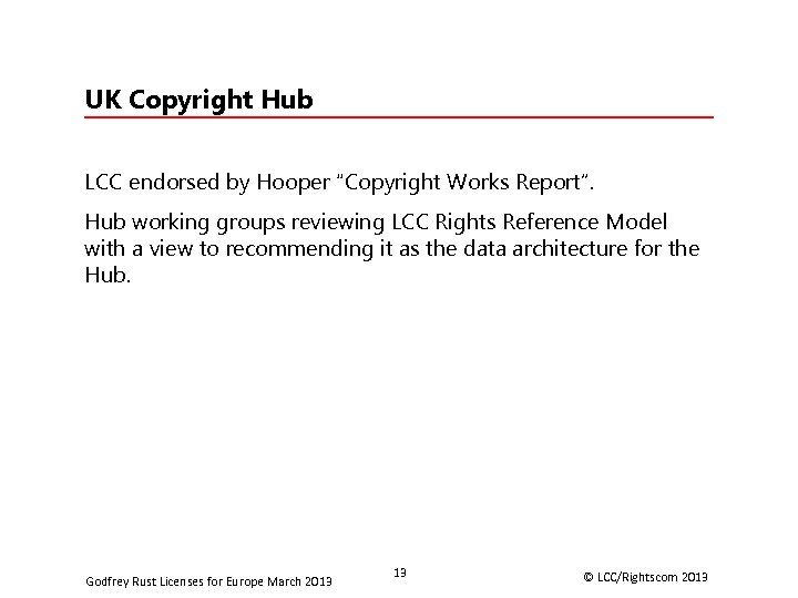"""UK Copyright Hub LCC endorsed by Hooper """"Copyright Works Report"""". Hub working groups reviewing"""