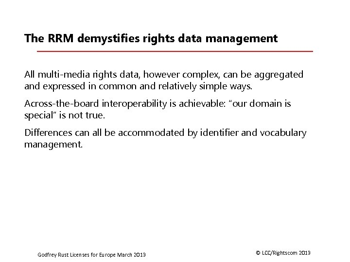 The RRM demystifies rights data management All multi-media rights data, however complex, can be