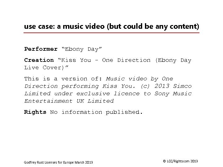 """use case: a music video (but could be any content) Performer """"Ebony Day"""" Creation"""