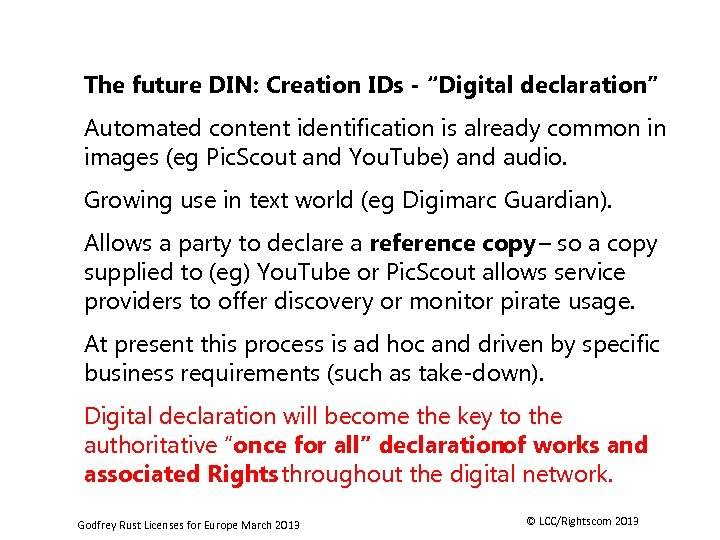 """The future DIN: Creation IDs - """"Digital declaration"""" Automated content identification is already common"""