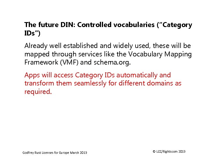 """The future DIN: Controlled vocabularies (""""Category IDs"""") Already well established and widely used, these"""