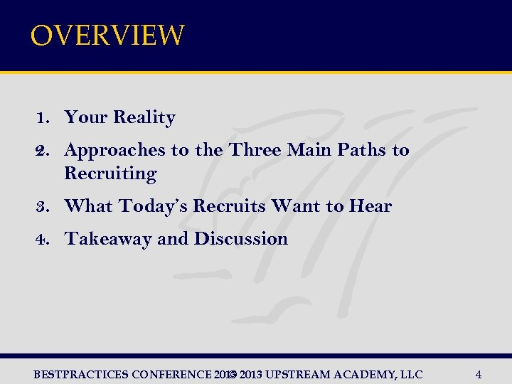 OVERVIEW 1. Your Reality 2. Approaches to the Three Main Paths to Recruiting 3.