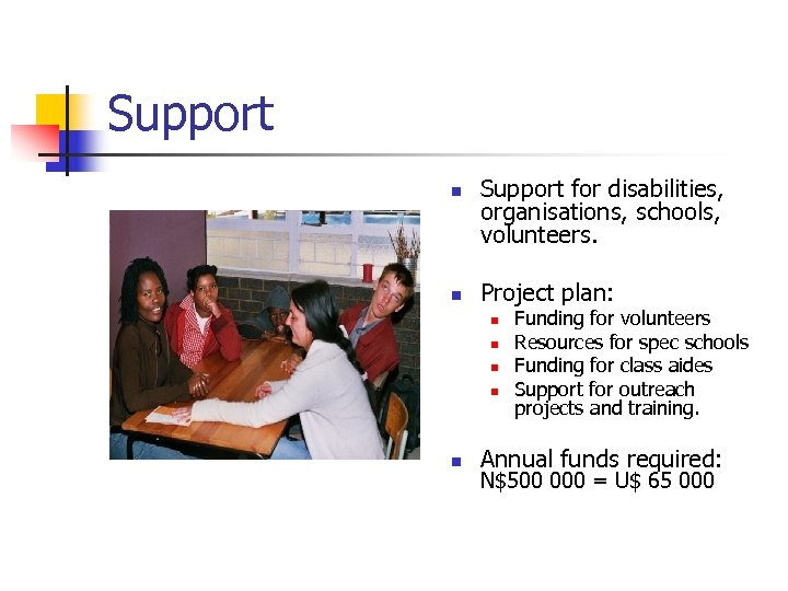 Support n n Support for disabilities, organisations, schools, volunteers. Project plan: n n n