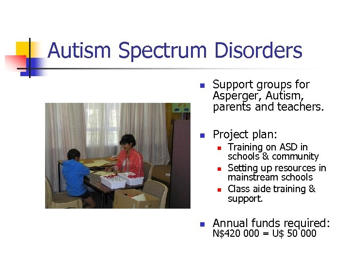 Autism Spectrum Disorders n n Support groups for Asperger, Autism, parents and teachers. Project
