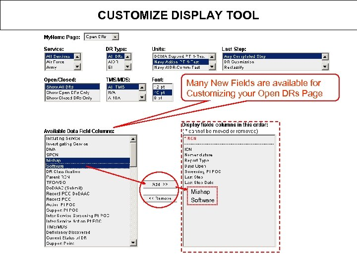 CUSTOMIZE DISPLAY TOOL Many New Fields are available for Customizing your Open DRs Page