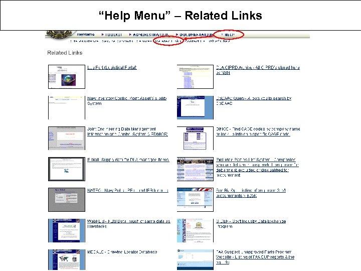"""""""Help Menu"""" – Related Links"""