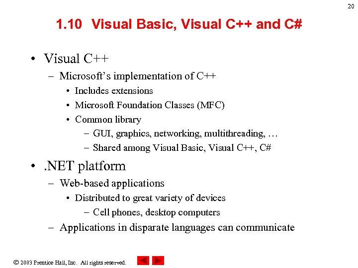 20 1. 10 Visual Basic, Visual C++ and C# • Visual C++ – Microsoft's