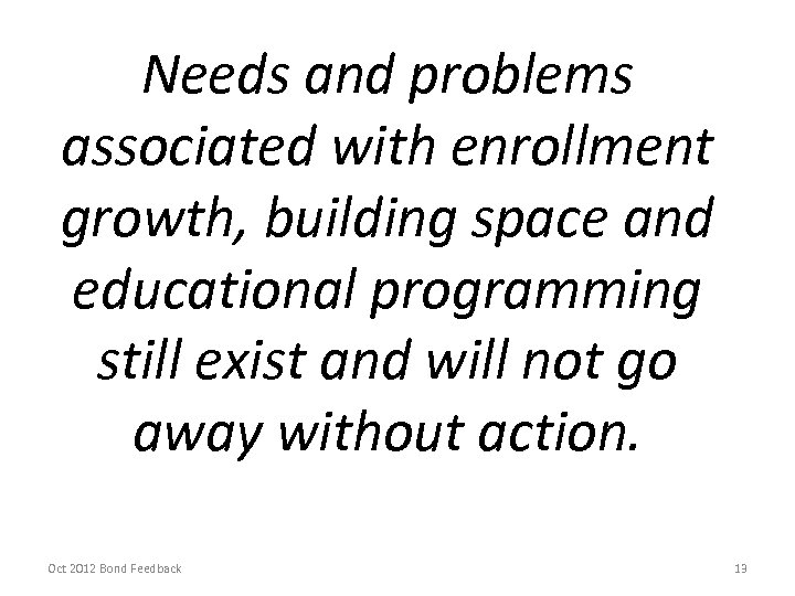 Needs and problems associated with enrollment growth, building space and educational programming still exist