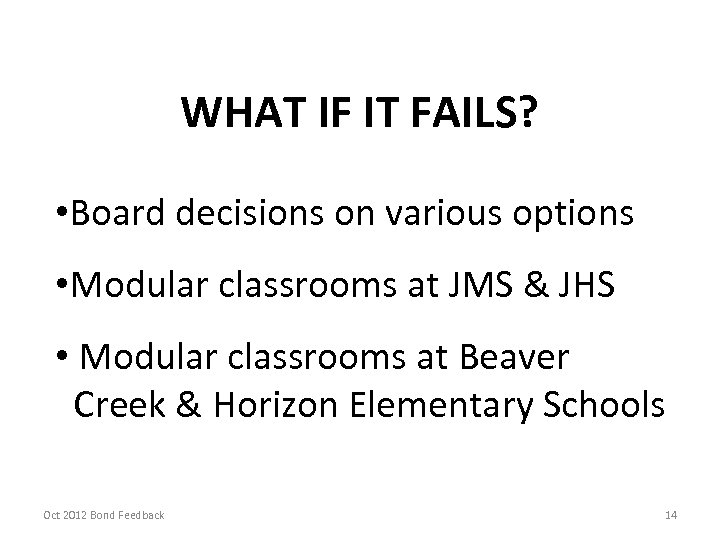 WHAT IF IT FAILS? • Board decisions on various options • Modular classrooms at
