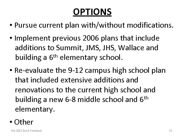 OPTIONS • Pursue current plan with/without modifications. • Implement previous 2006 plans that include
