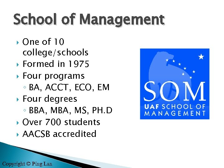 School of Management One of 10 college/schools Formed in 1975 Four programs ◦ BA,