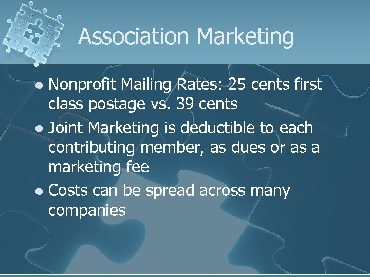 Association Marketing Nonprofit Mailing Rates: 25 cents first class postage vs. 39 cents l