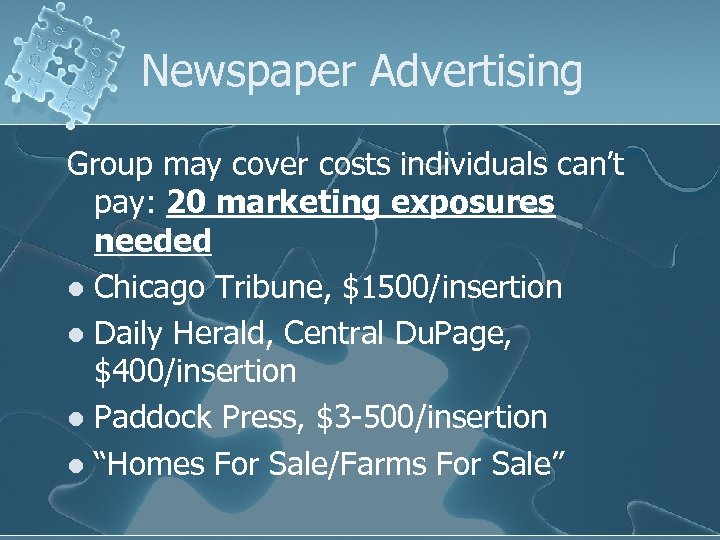 Newspaper Advertising Group may cover costs individuals can't pay: 20 marketing exposures needed l