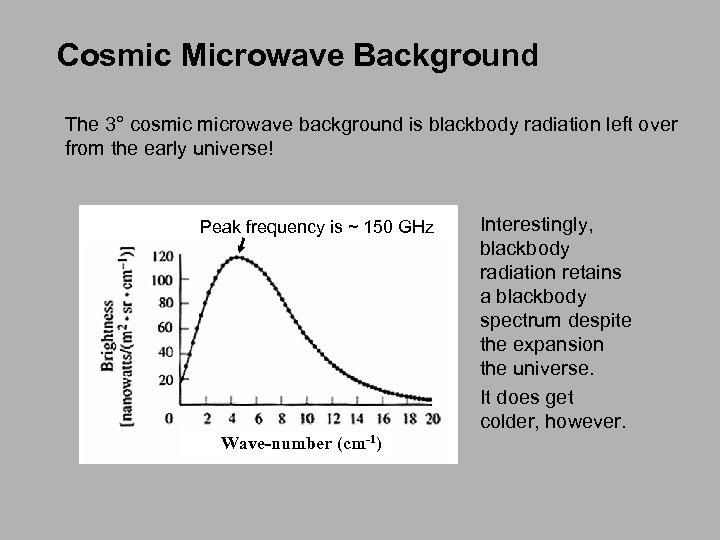 Cosmic Microwave Background The 3° cosmic microwave background is blackbody radiation left over from
