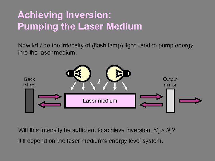 Achieving Inversion: Pumping the Laser Medium Now let I be the intensity of (flash