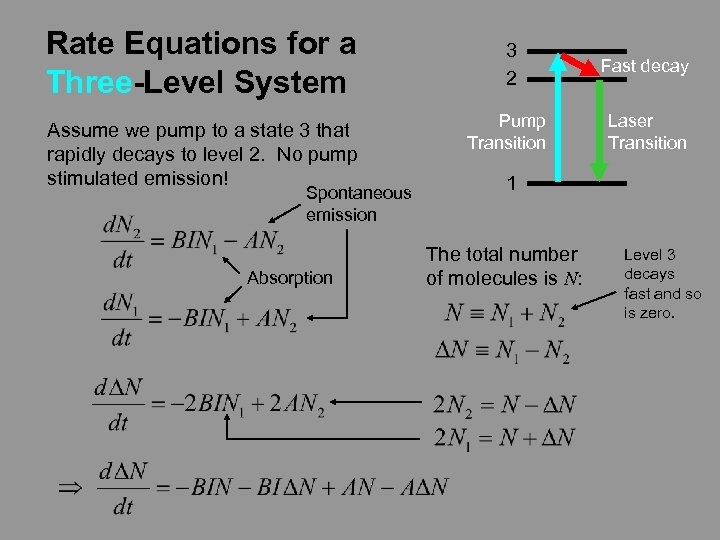Rate Equations for a Three-Level System Assume we pump to a state 3 that
