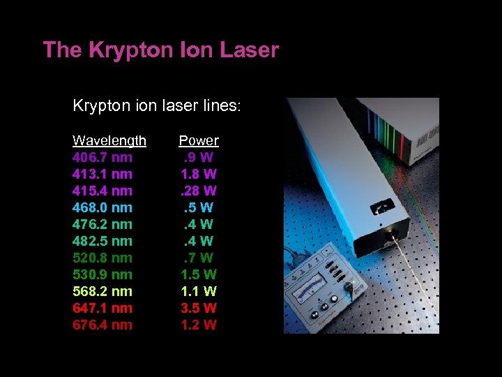 The Krypton Ion Laser Krypton ion laser lines: Wavelength 406. 7 nm 413. 1