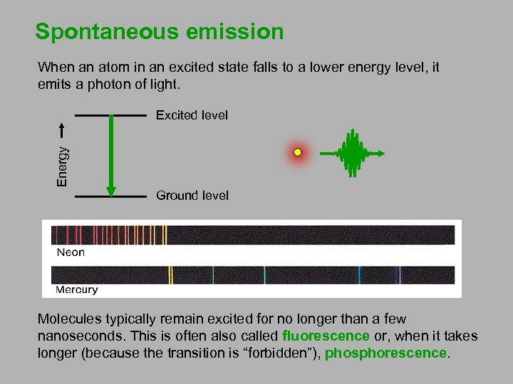 Spontaneous emission When an atom in an excited state falls to a lower energy