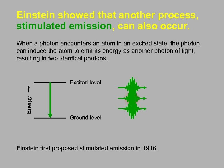 Einstein showed that another process, stimulated emission, can also occur. When a photon encounters