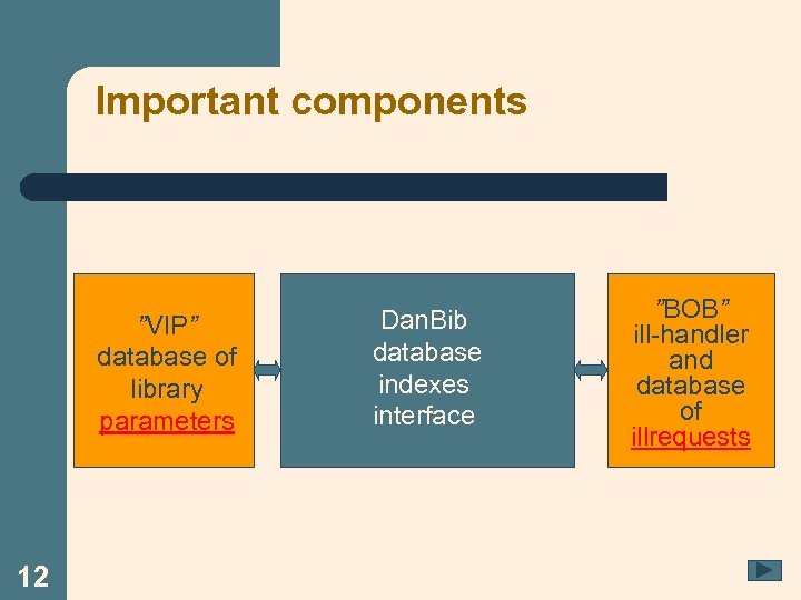 """Important components """"VIP"""" database of library parameters 12 Dan. Bib database indexes interface """"BOB"""""""