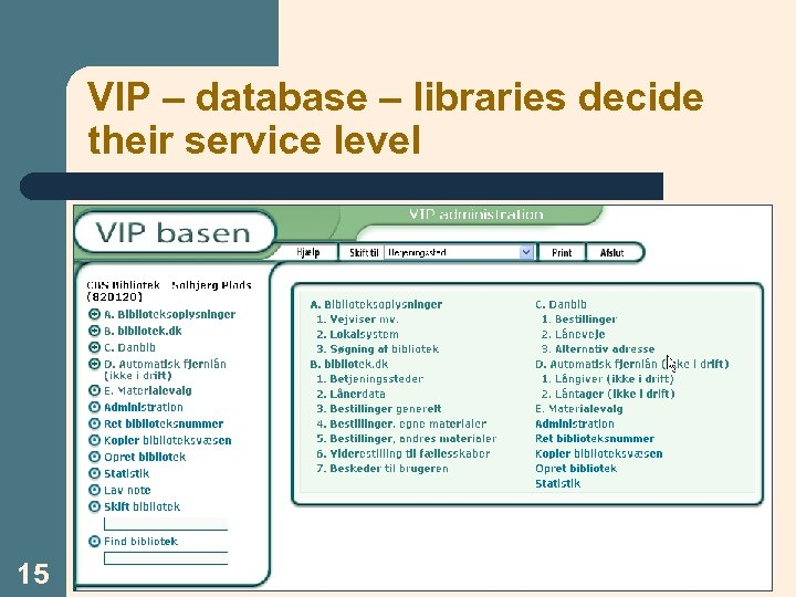 VIP – database – libraries decide their service level 15