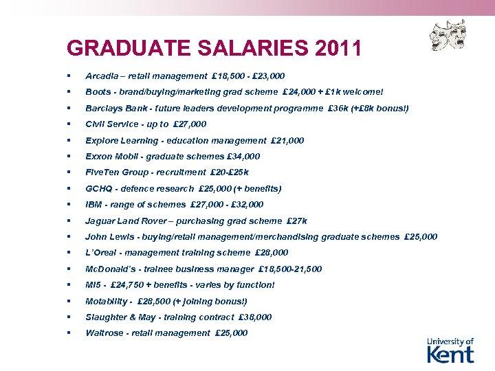 GRADUATE SALARIES 2011 § Arcadia – retail management £ 18, 500 - £ 23,