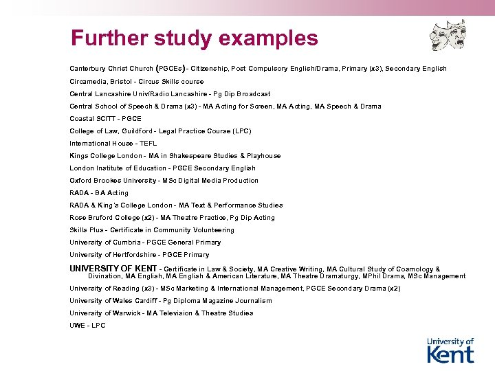 Further study examples Canterbury Christ Church (PGCEs) - Citizenship, Post Compulsory English/Drama, Primary (x