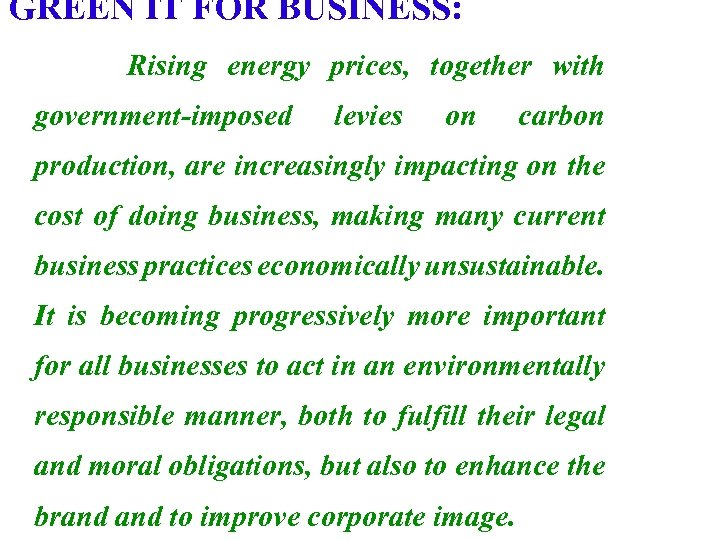 GREEN IT FOR BUSINESS: Rising energy prices, together with government-imposed levies on carbon production,