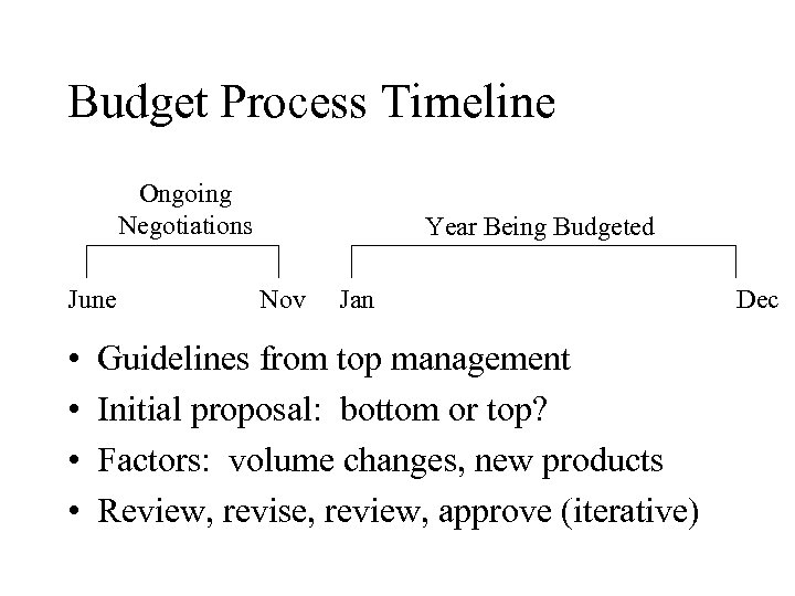 Budget Process Timeline Ongoing Negotiations June • • Year Being Budgeted Nov Jan Guidelines