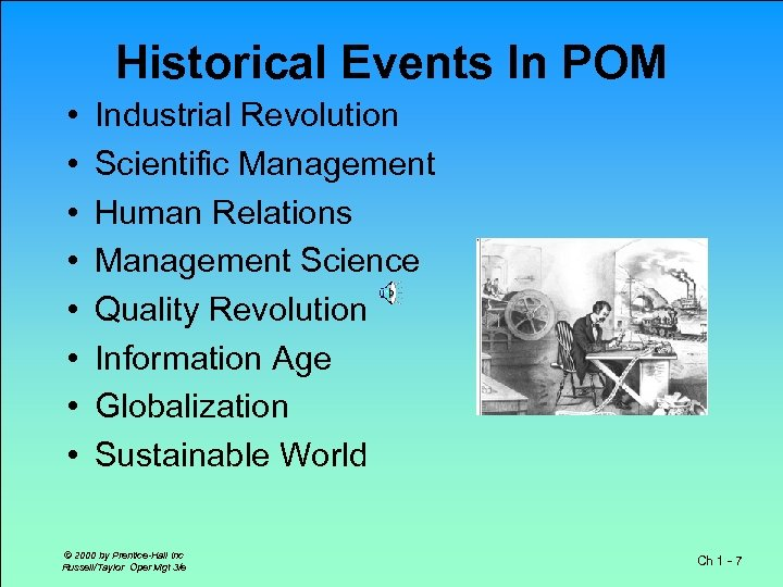 Historical Events In POM • • Industrial Revolution Scientific Management Human Relations Management Science