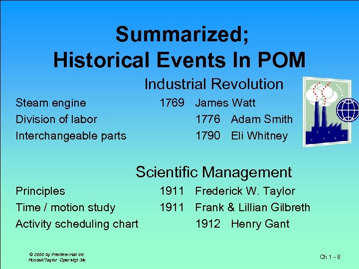 Summarized; Historical Events In POM Industrial Revolution Steam engine Division of labor Interchangeable