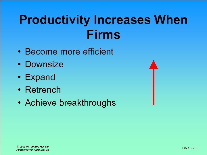 Productivity Increases When Firms • • • Become more efficient Downsize Expand Retrench Achieve