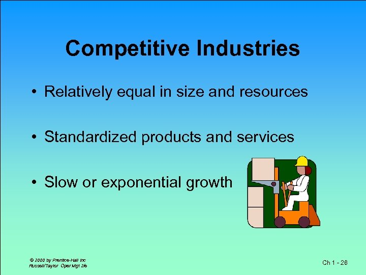 Competitive Industries • Relatively equal in size and resources • Standardized products and services