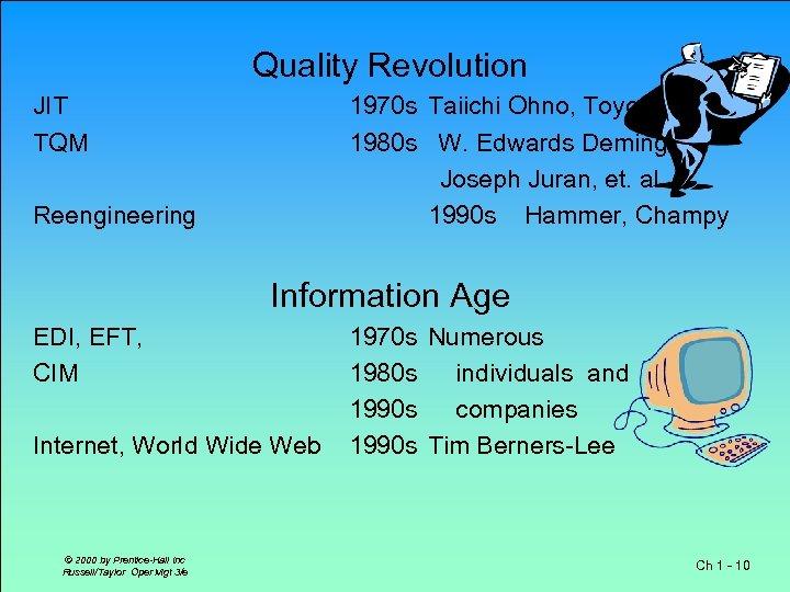 Quality Revolution JIT TQM 1970 s Taiichi Ohno, Toyota 1980 s W. Edwards Deming,
