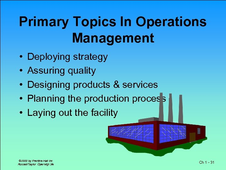 Primary Topics In Operations Management • • • Deploying strategy Assuring quality Designing products