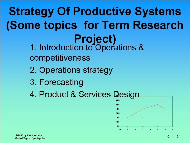 Strategy Of Productive Systems (Some topics for Term Research Project) 1. Introduction to Operations