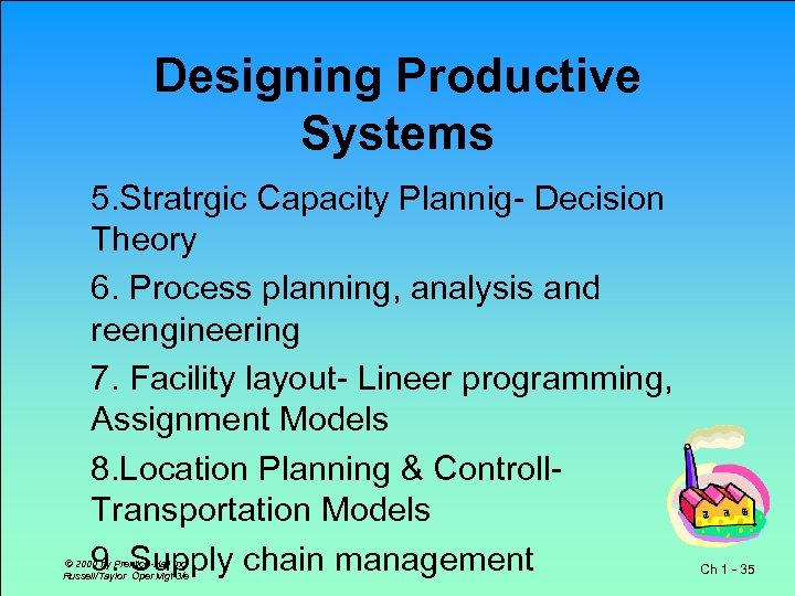 Designing Productive Systems 5. Stratrgic Capacity Plannig- Decision Theory 6. Process planning, analysis and