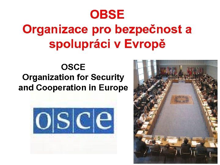 OBSE Organizace pro bezpečnost a spolupráci v Evropě OSCE Organization for Security and Cooperation