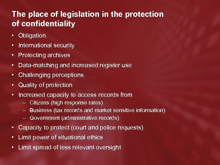 The place of legislation in the protection of confidentiality • Obligation • International security