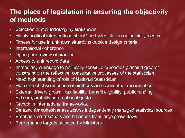 The place of legislation in ensuring the objectivity of methods • • • •